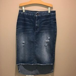 NWOT Guess distressed denim hi low skirt size 27